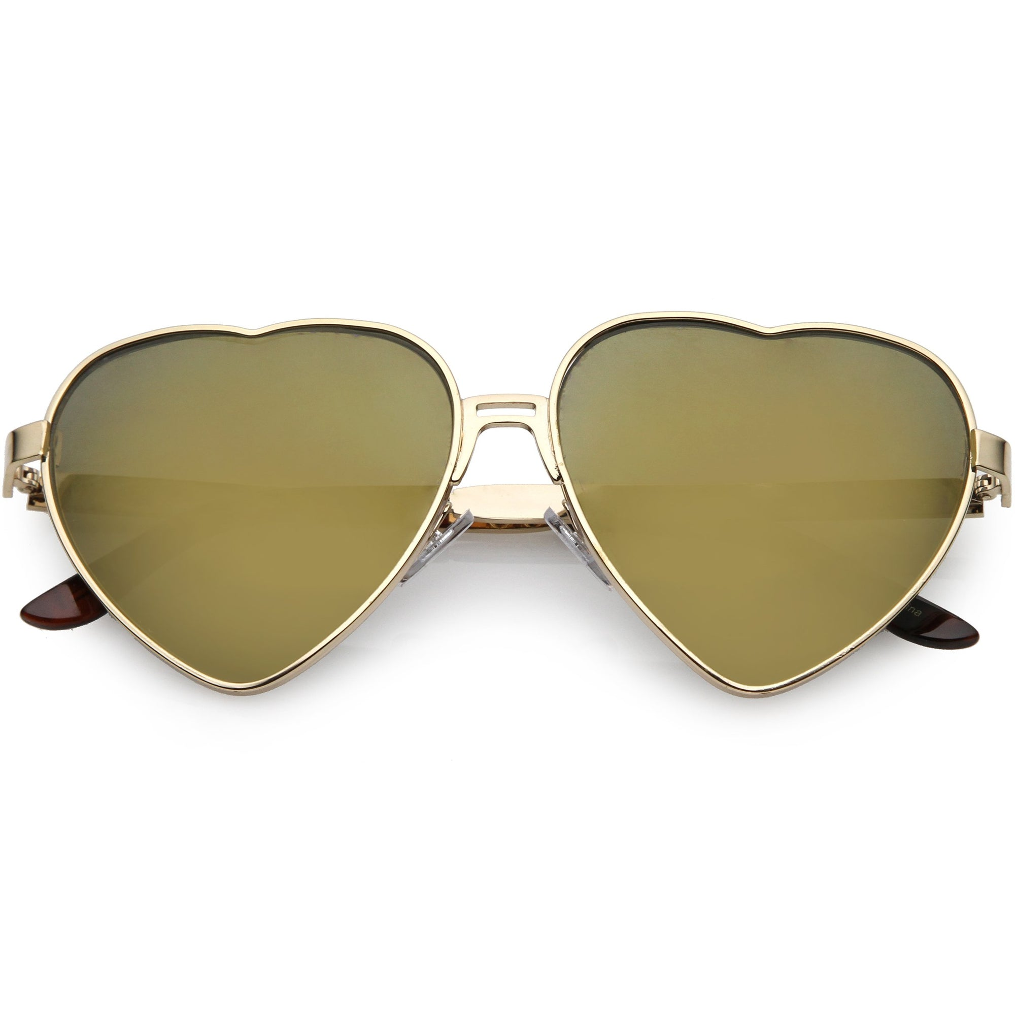 93c4595fba5 Women s Oversize Metal Heart Shaped Mirrored Lens Sunglasses - zeroUV