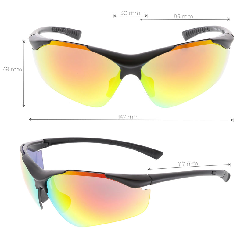 Performance TR-90 Sports Shield Mirrored Lens Sunglasses C797