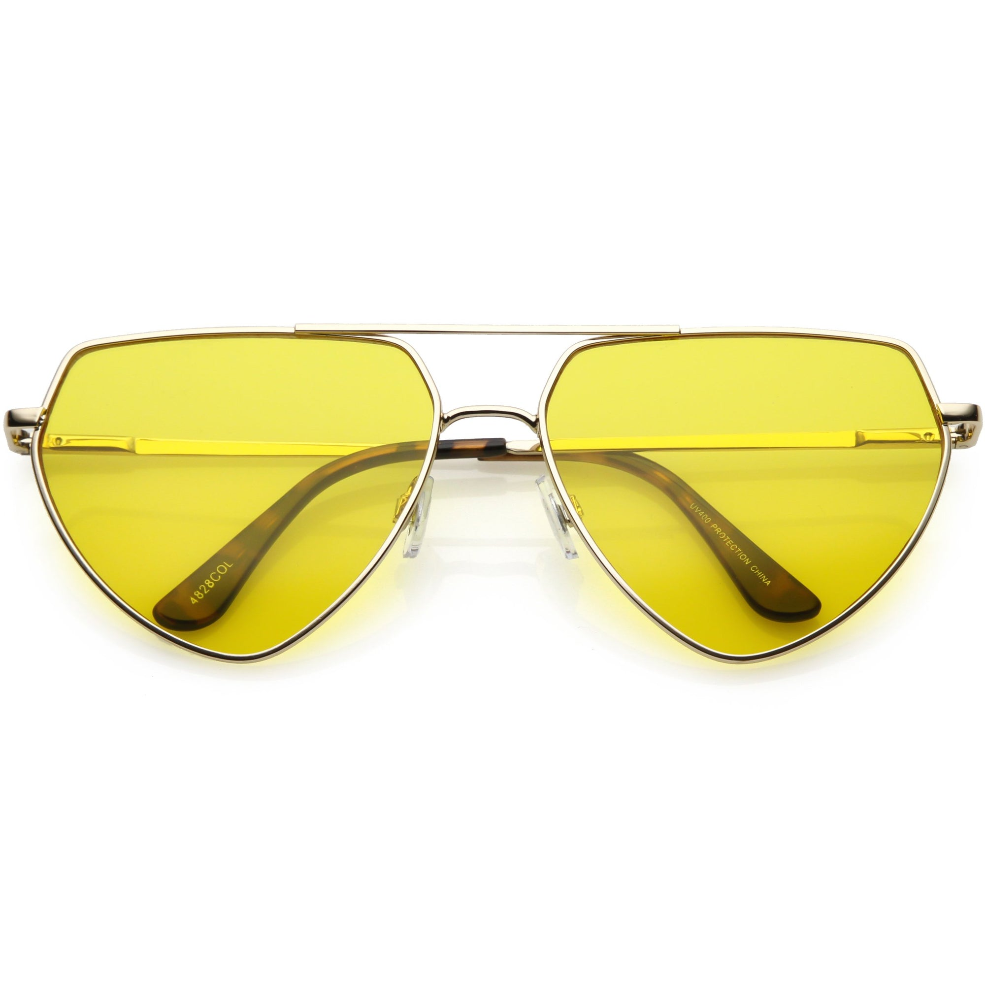 571dd023f36 Retro Oversize Color Tone Flat Top Aviator Sunglasses - zeroUV