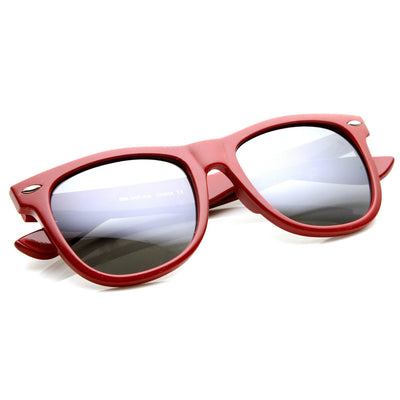 Retro Large Mirrored Lens Horned Rim Sunglasses 9155