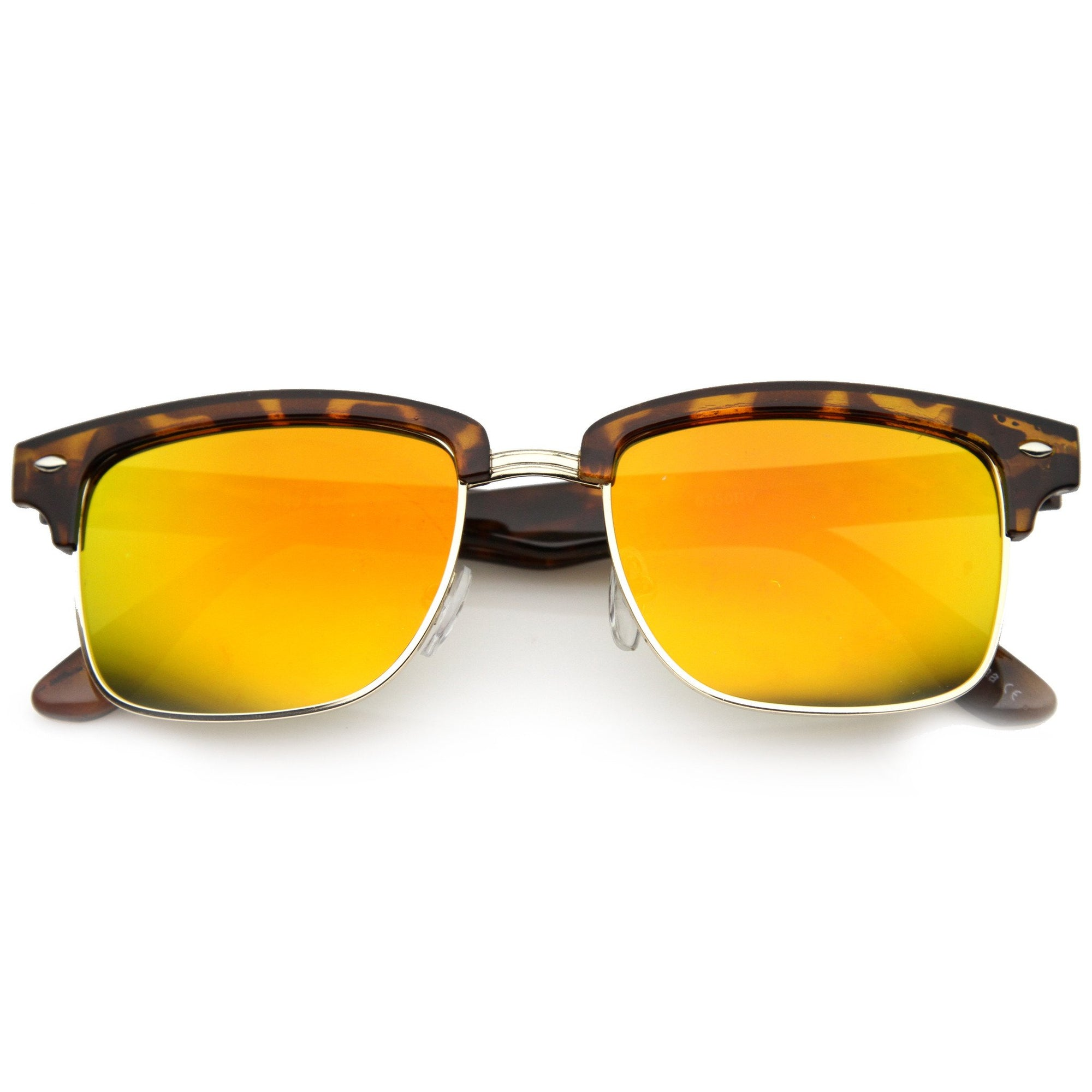 ae5843cb4e ... Retro Half Frame Horned Rim Mirror Lens Sunglasses 9741 · Tortoise Gold  Fire