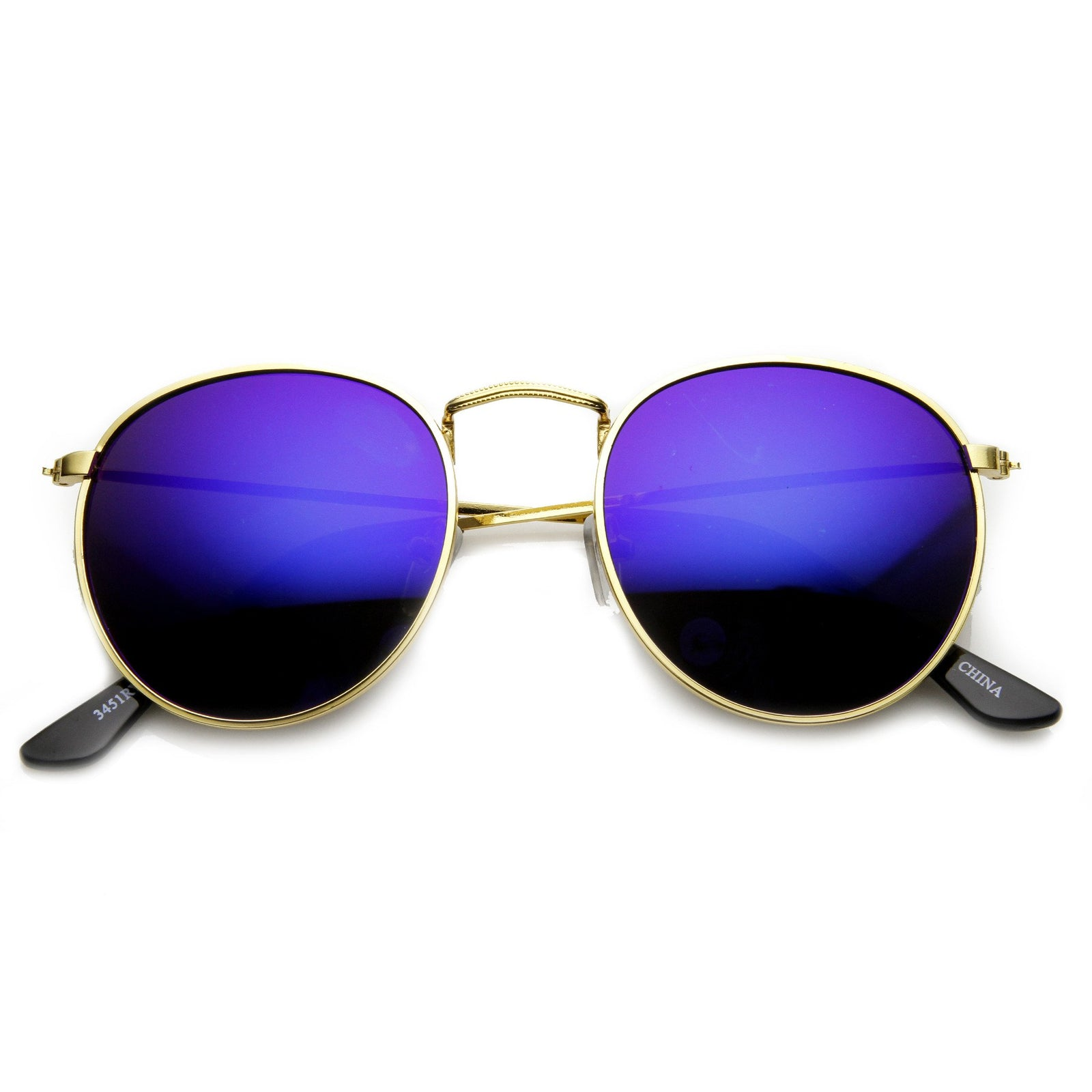 c049d3fa9f80 Retro P3 Round Flash Color Mirror Lens Metal Sunglasses 9208