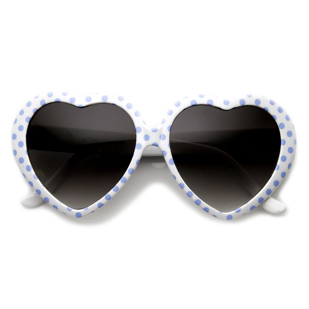 1fc74c8966 Womens Cute Polka Dot Heart Shaped Fashion Sunglasses - zeroUV