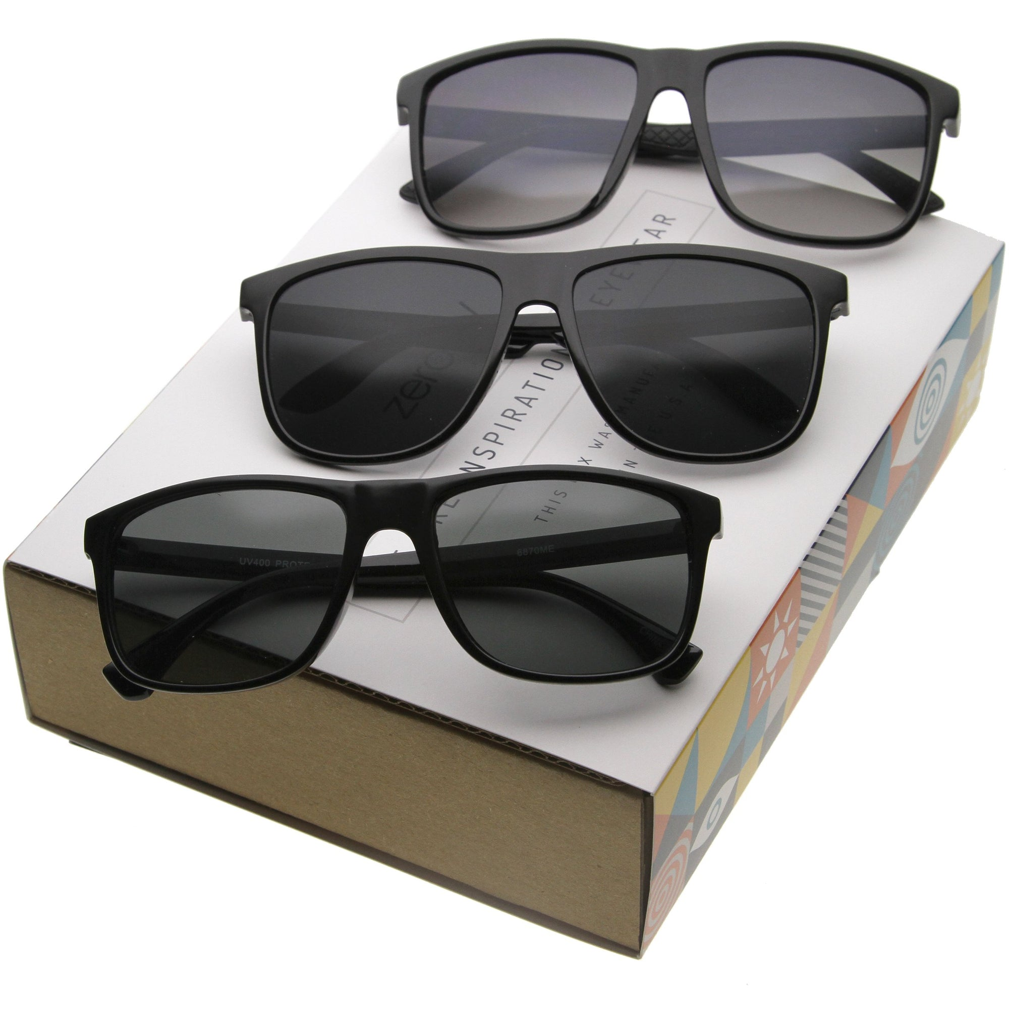 4831210bf2 ... Retro Modern Casual Lifestyle Horn Rimmed Sunglasses A351  Promo Box  ·  3 Pack Mix - Promo Box