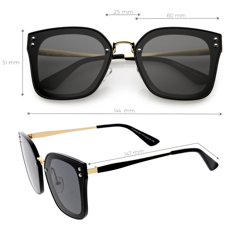 Women's Oversize Square Mirrored Polarized Flat Lens Sunglasses C883