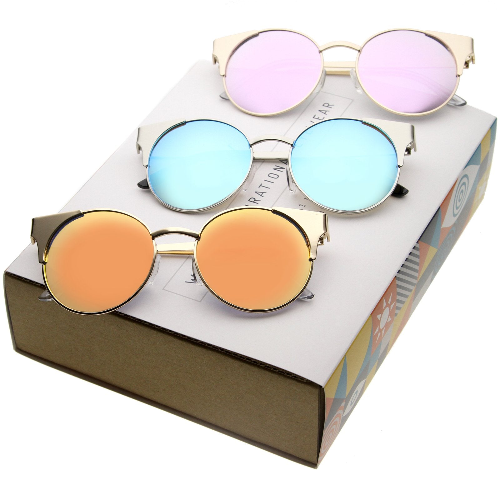 488d27182011 ... Mirrored Flat Lens Cat Eye Sunglasses C359 [Promo Box] · 3 Pack - Promo  Box