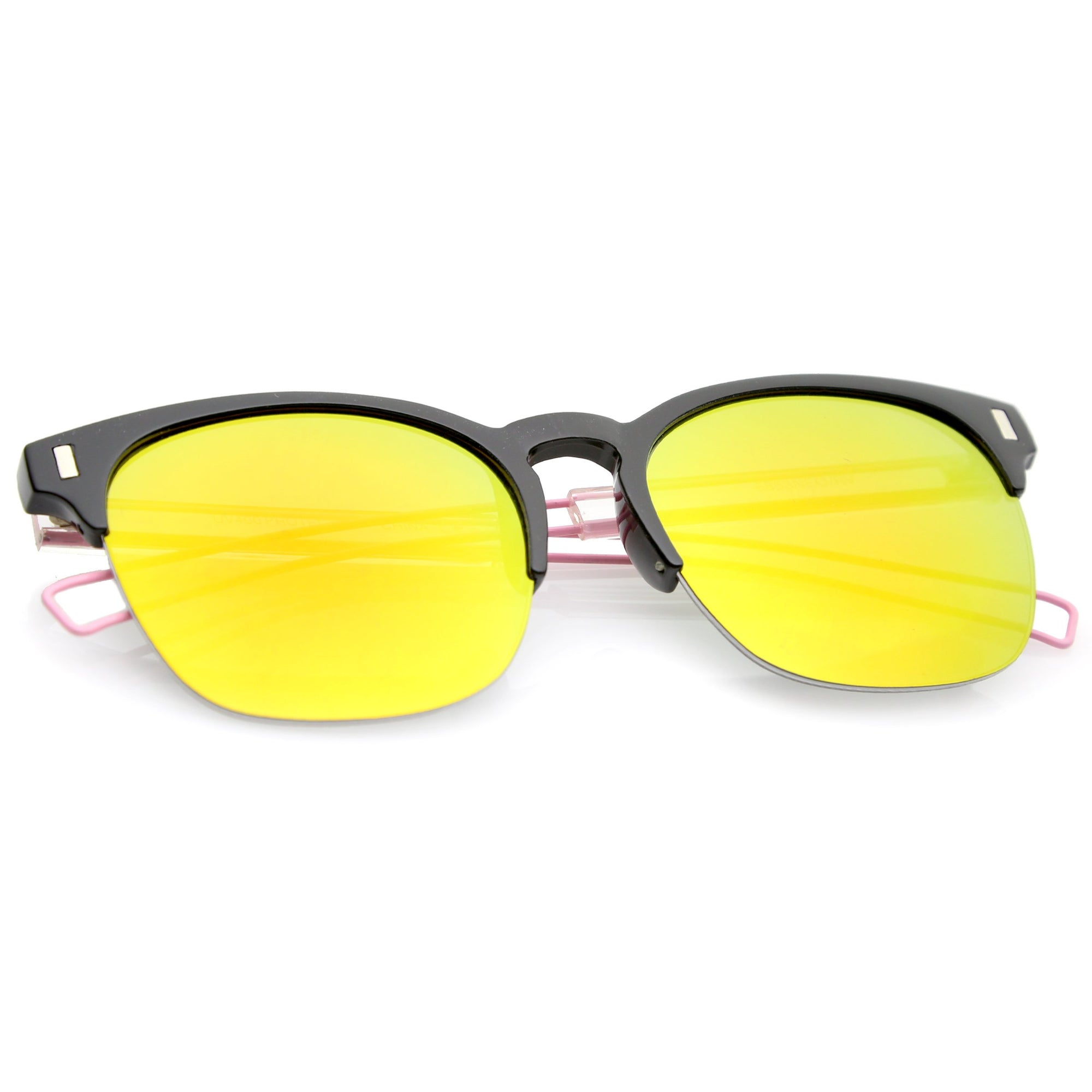 24c96eb0561 Retro Modern Wire Temple Half Frame Mirrored Flat Lens Sunglasses ...