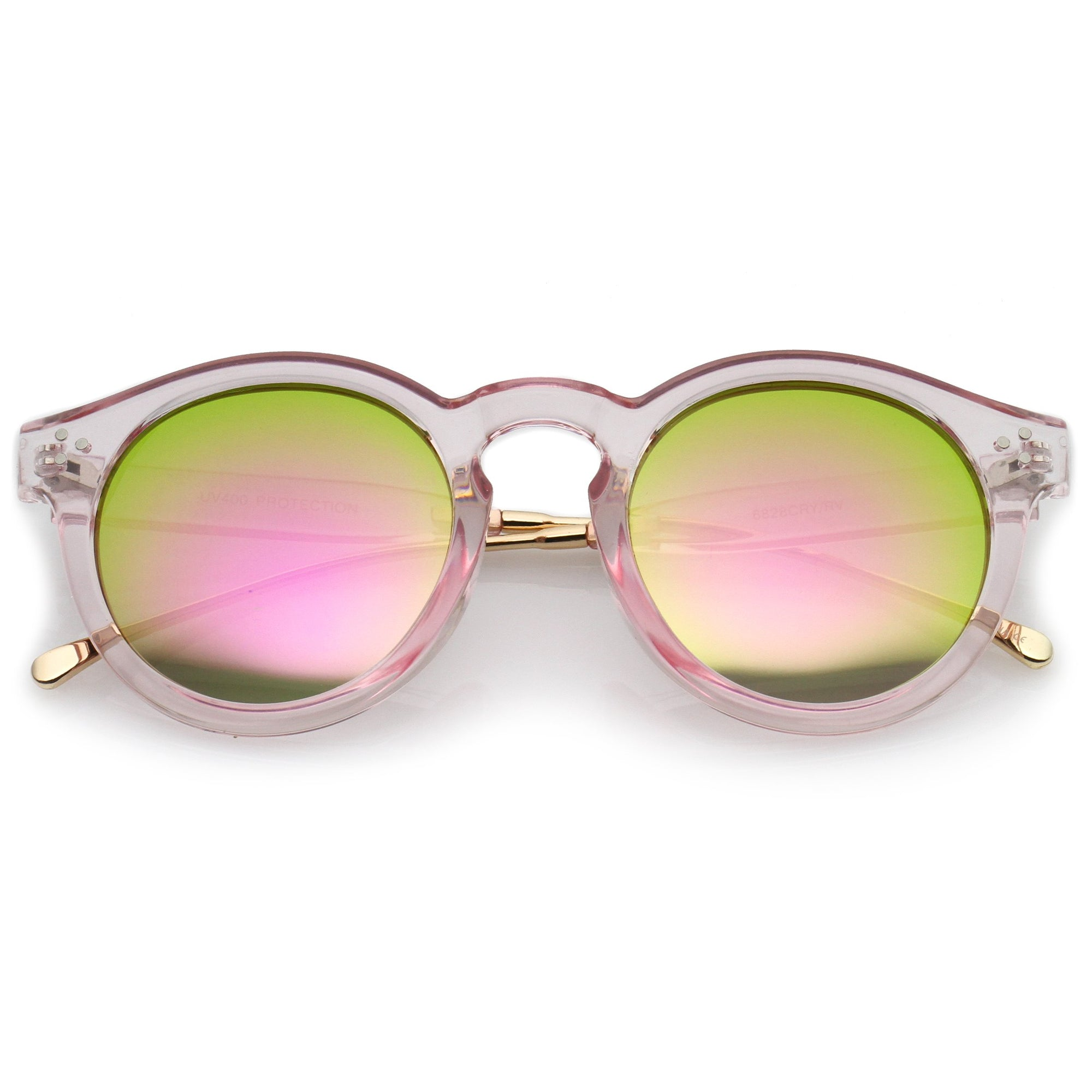 7118f38bce ... Trendy Transparent Color Mirrored Lens Round P3 Sunglasses A780 · Pink  Gold Pink Mirror