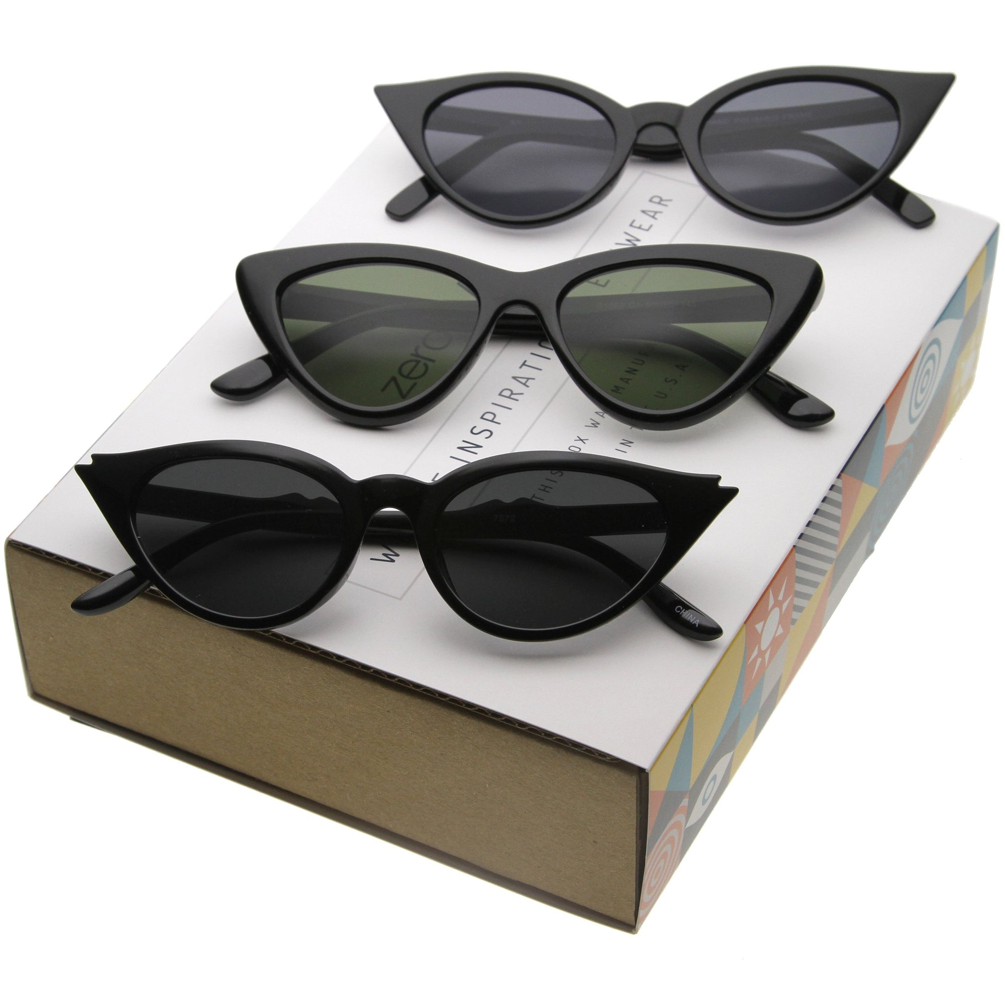 Women's Small Retro Pointed Cat Eye Sunglasses C758 [Promo Box]