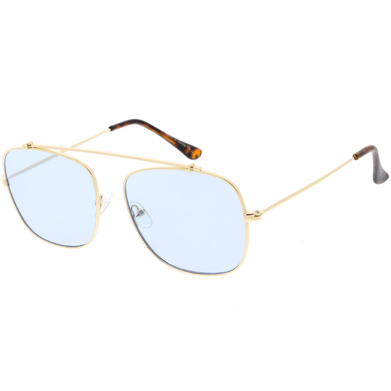 Oversize Retro Square Color Tone Metal Aviator Sunglasses C850