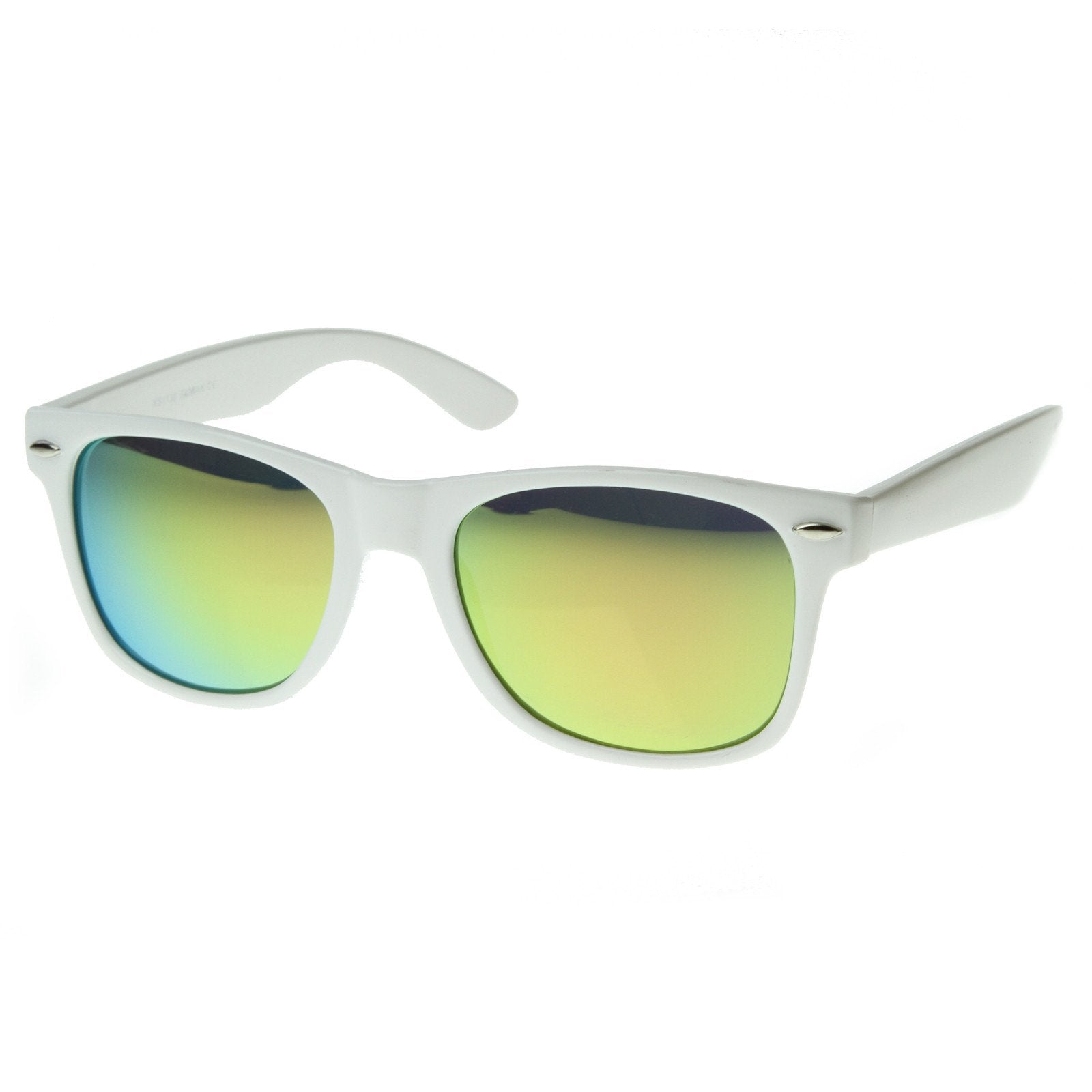 e53c200f9b Retro Horned Rime Sunglasses With Flash Mirror Lenses - zeroUV