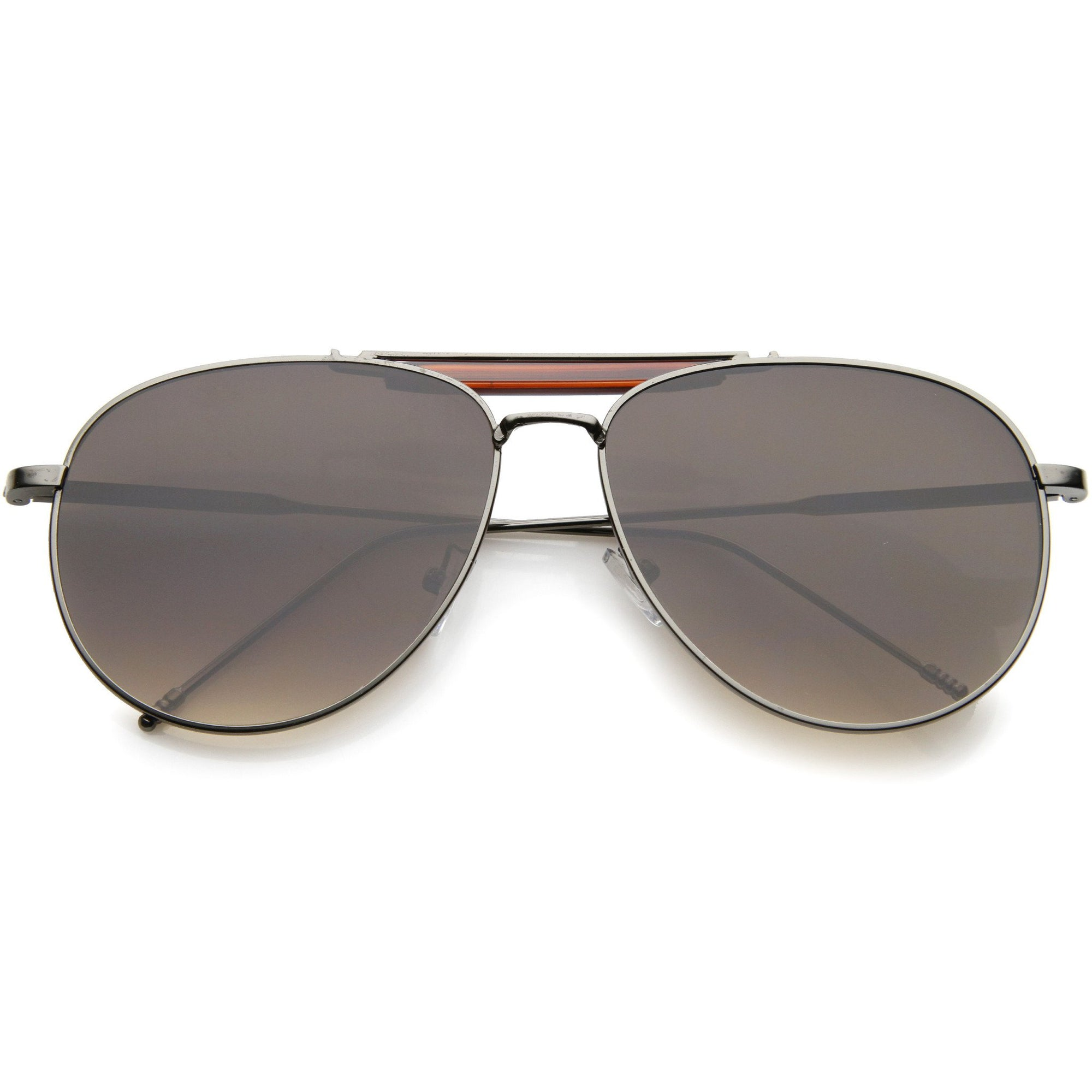 1eb7f771706 Modern Fashion Top Bar Flat Lens Aviator Sunglasses A212 · Gunmetal Brown  Lavender