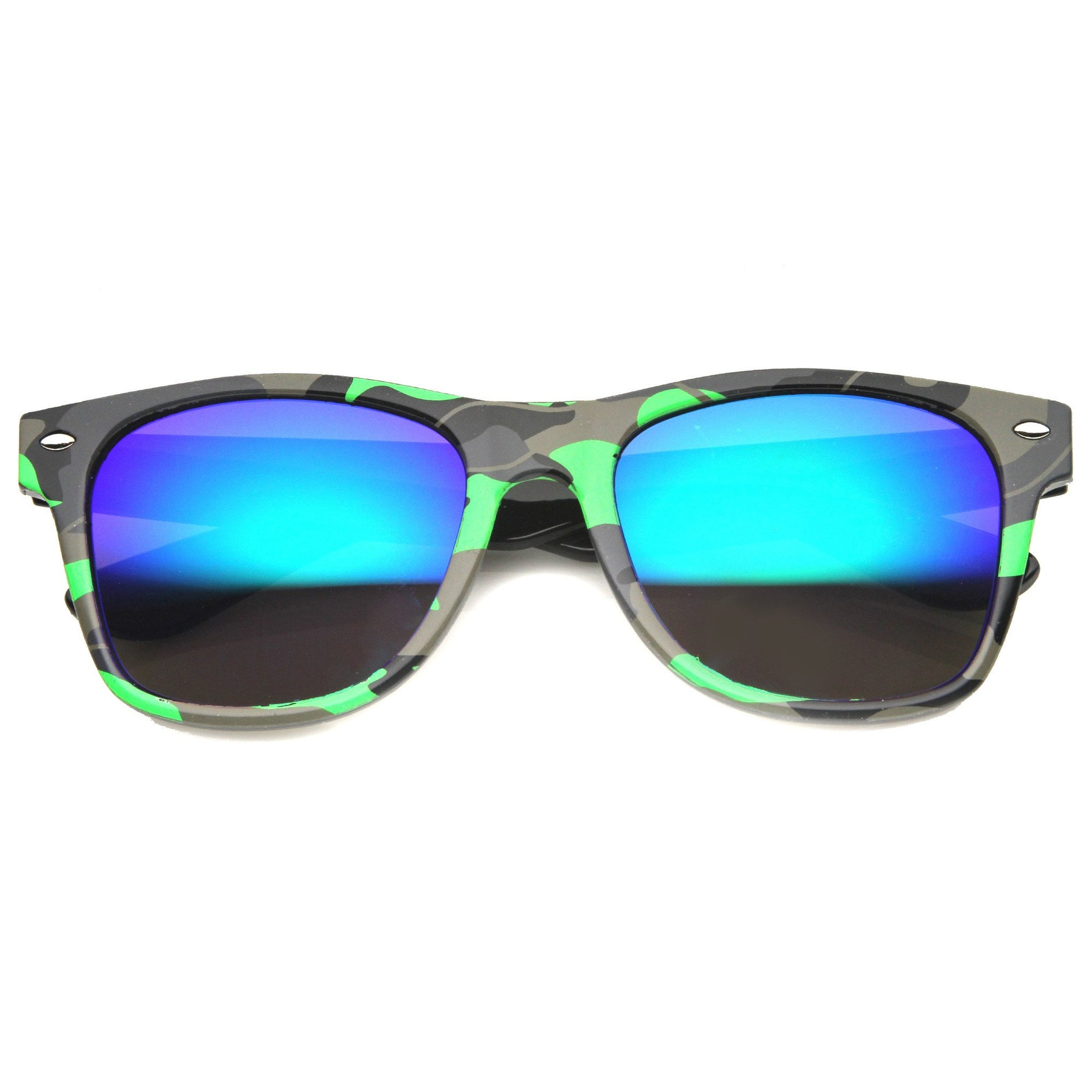 Action Sports Colorful Two-Tone Rectangle Color Mirror Lens Sunglasses Black Fire