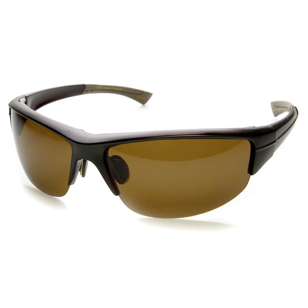 bd980e791b5 ... Mens Polarized TAC Lens Semi Rimless Action Sports Wrap Around  Sunglasses 9272 · Brown · Brown
