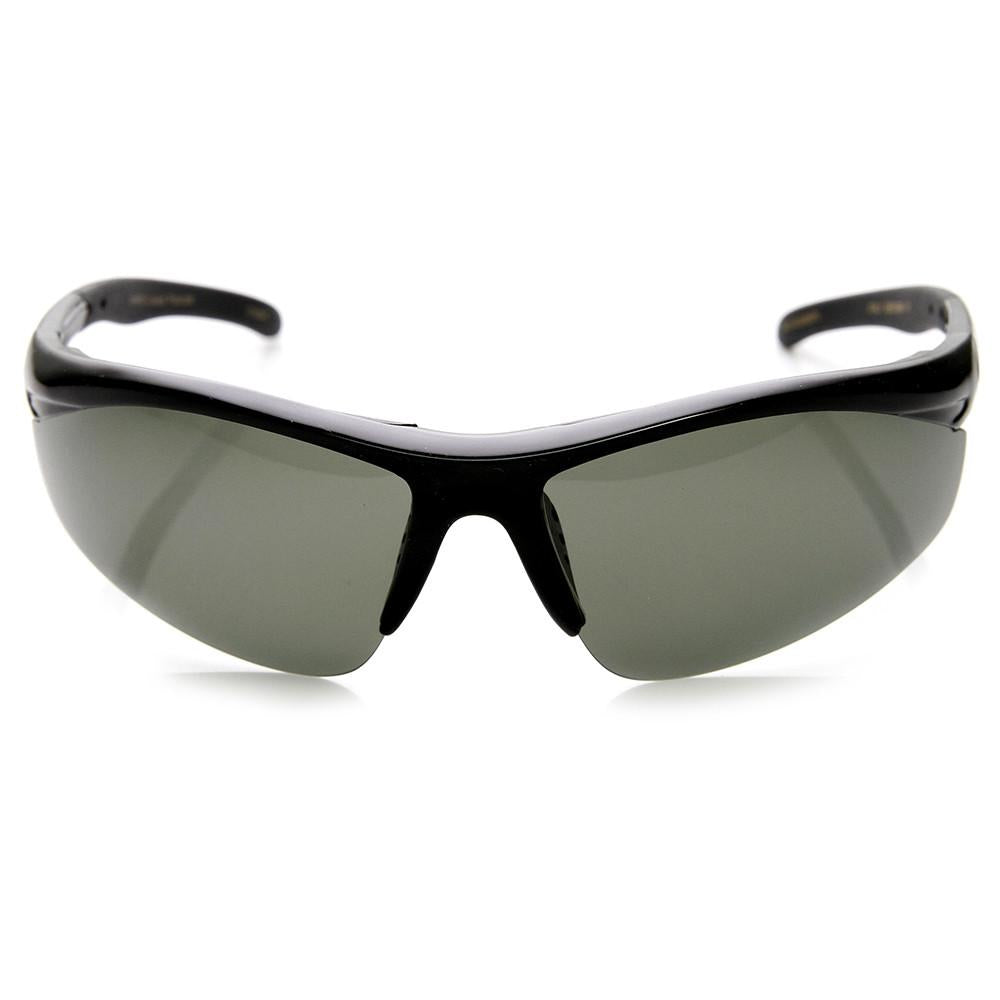 3d6a82daa0ee Mens Hard Coated Performance Half Frame Sports Wrap Around Sunglasses 9273