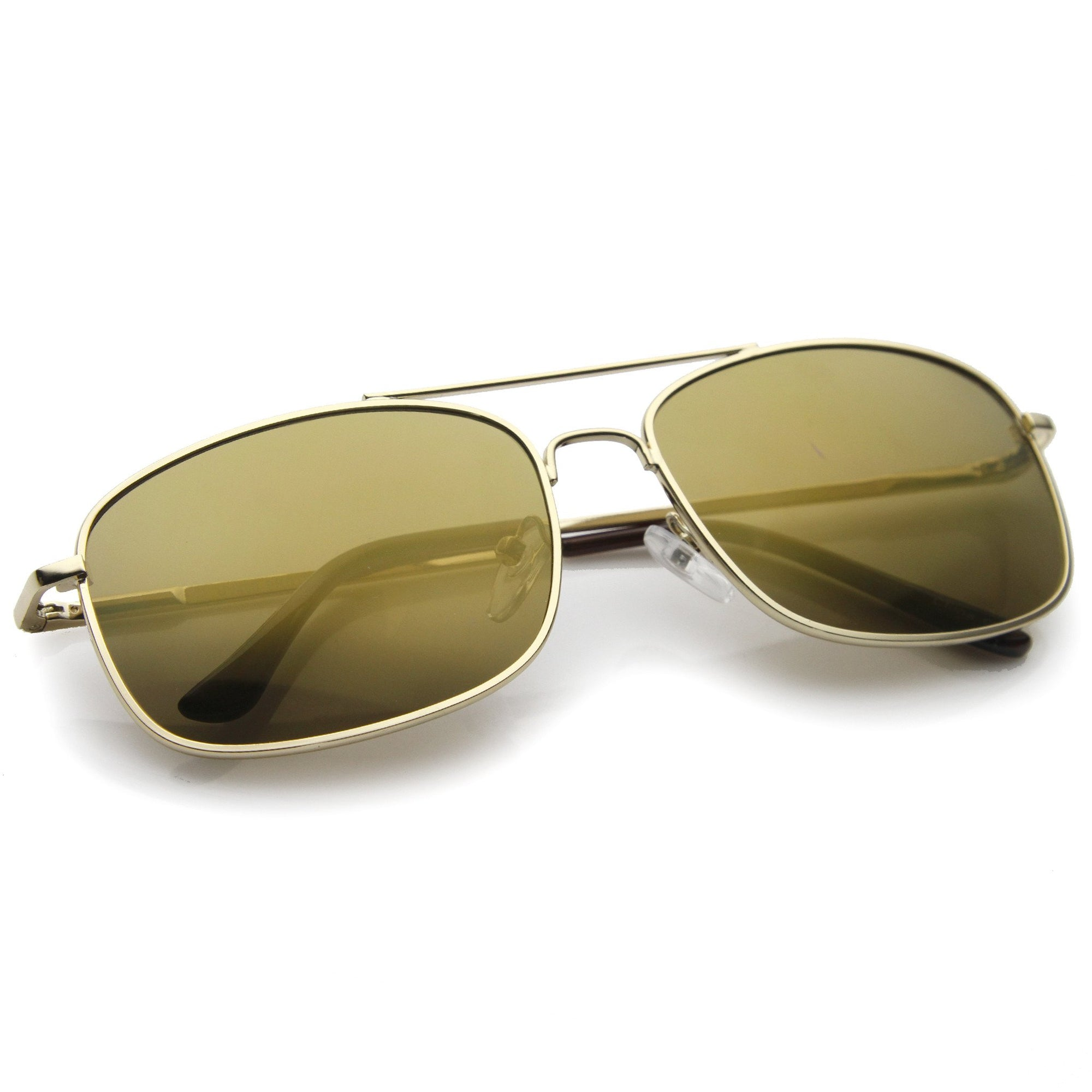 85fb97fb794 ... Men s Sports Square Gold Metal Mirrored Lens Aviator Sunglasses A026 ·  Gold Brown · Gold Brown