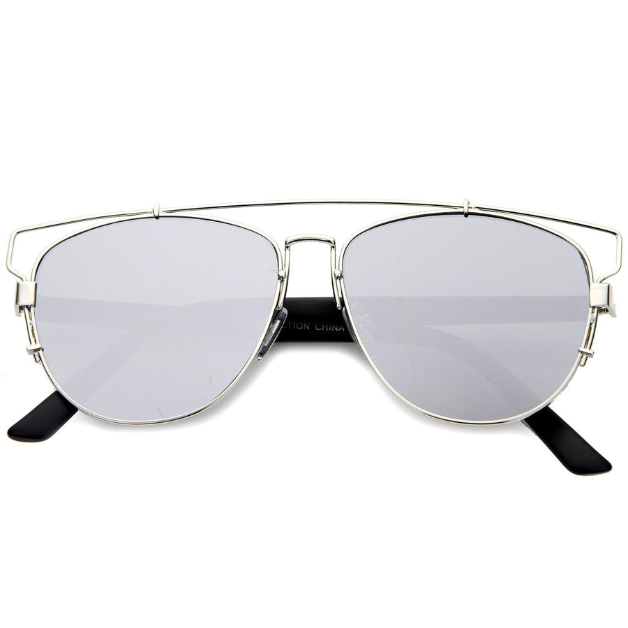 46be5b1e7a Silver Light Mirror. Silver Light Mirror · Modern Metal Crossbar Mirrored Lens  Flat Front Sunglasses A145