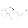 1920's Vintage Era Large Round Metal Clear Lens Glasses