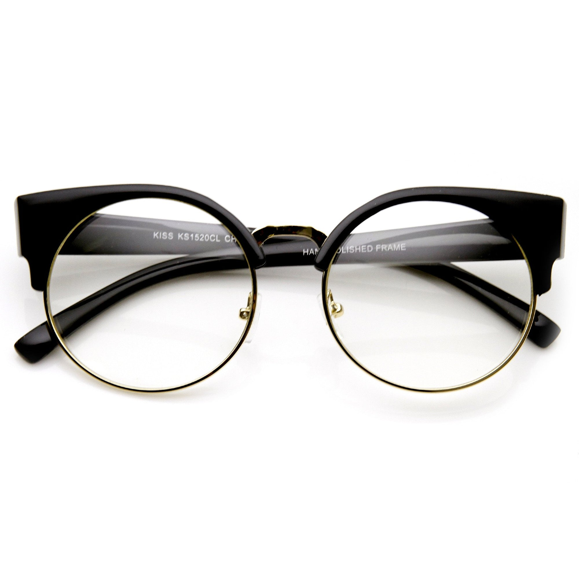 cc762048aa5 Indie Hipster Retro Round Cat Eye Clear Lens Glasses - zeroUV