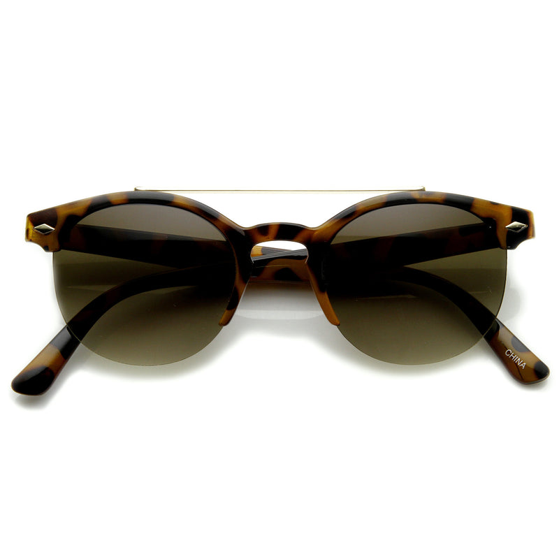 Indie Dapper Vintage Round Half Frame With Crossbar Fashion Sunglasses 9172