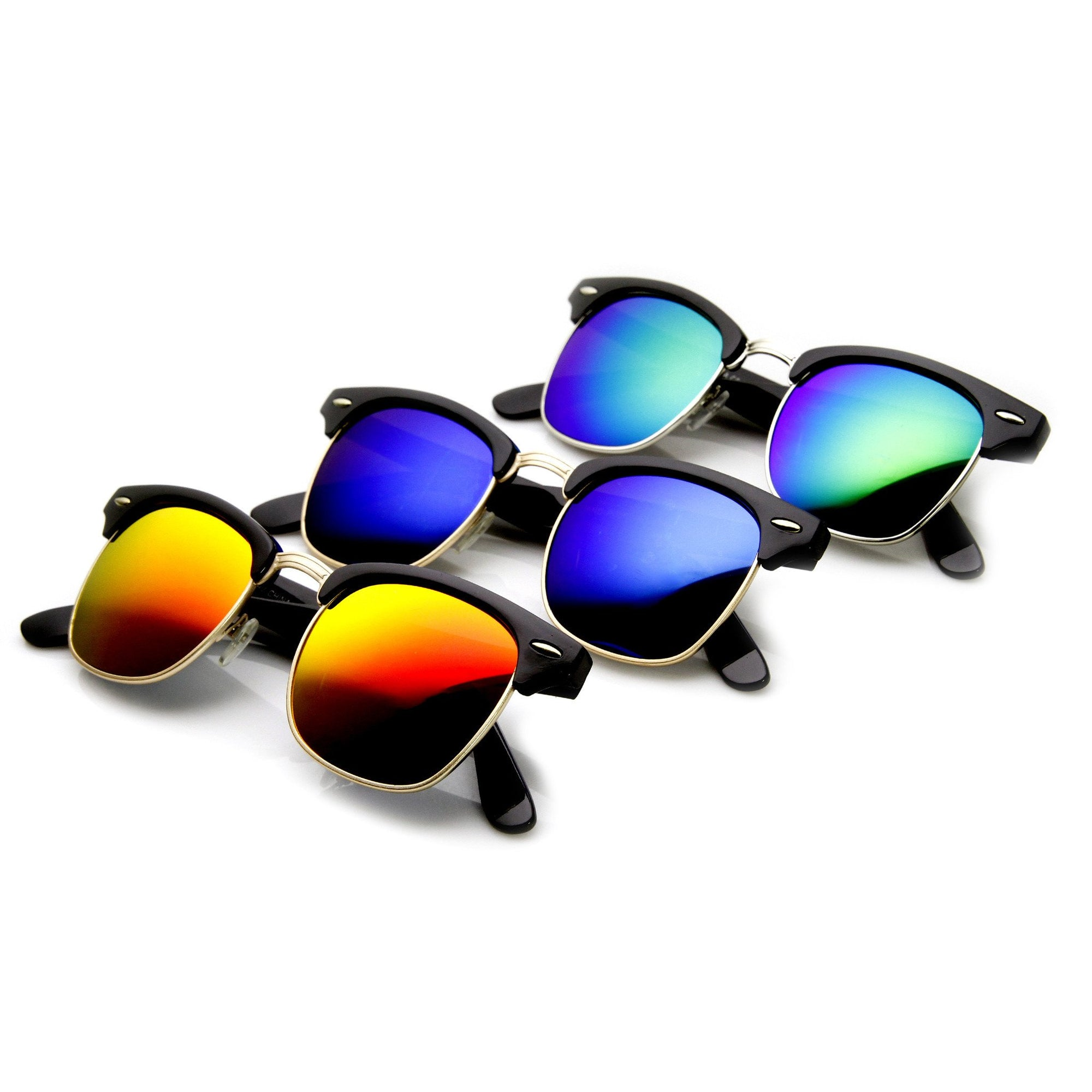 Retro Horned Rim Half Frame Flash Mirror Lens Sunglasses 9309 [3Pack]