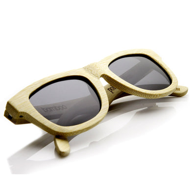 Premium Bamboo Wood Polarized Horned Rim Sunglasses 9121 + Case