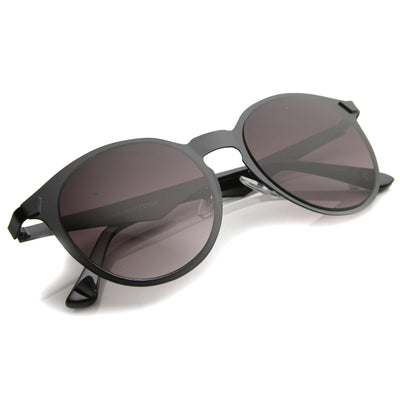 Modern P3 Horned Rim Low Profile Round Metal Sunglasses 9820