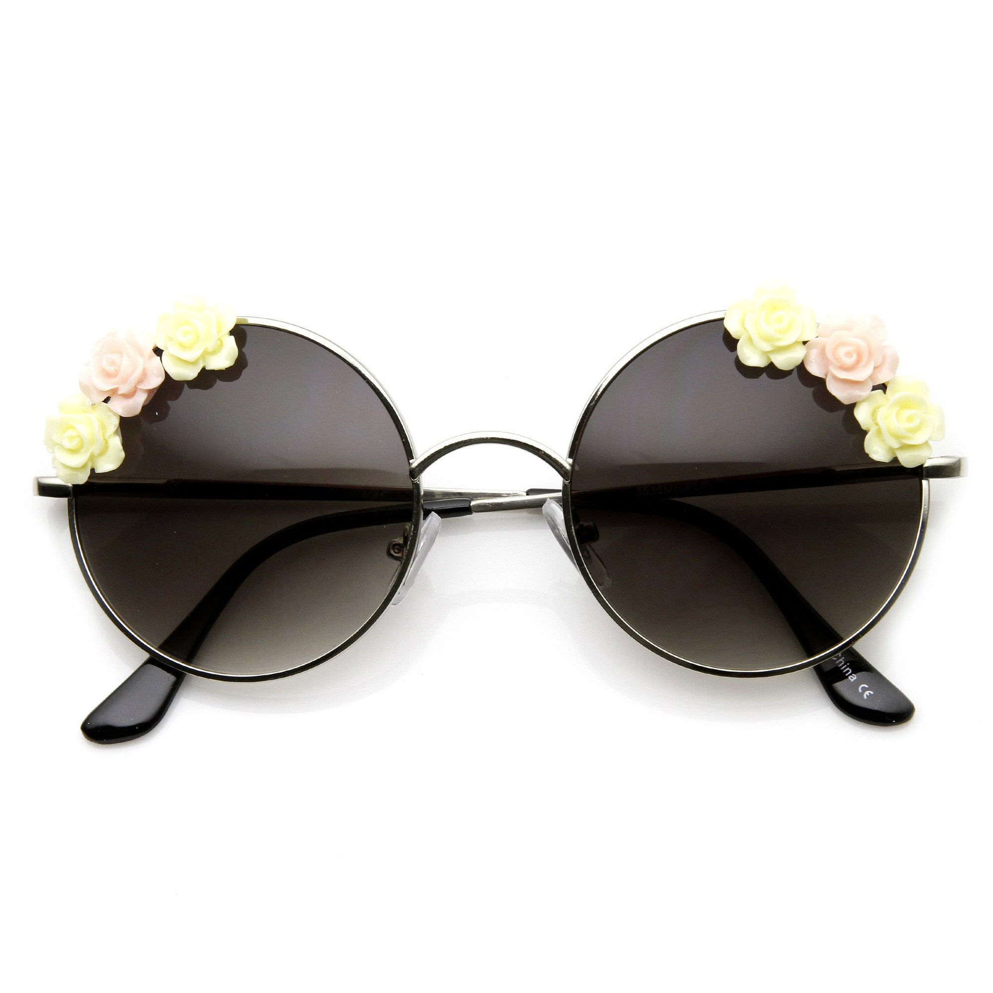 407f970db32a4 Flower Adorned Womens Hippie Floral Round Sunglasses - zeroUV