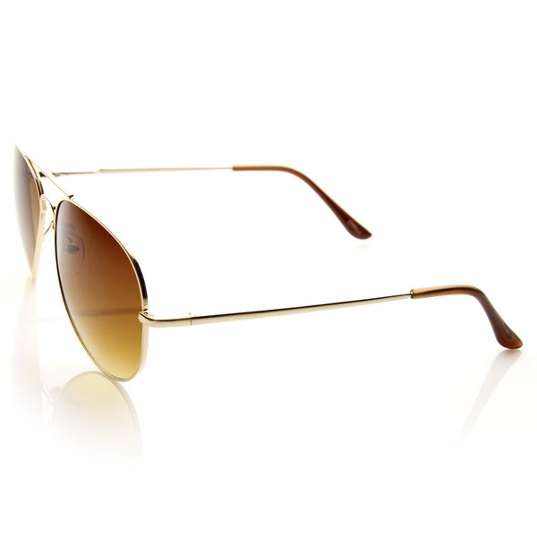 b9e9342282 Large Metal Aviator Sunglasses With Spring Temples - zeroUV