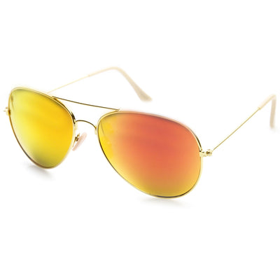 Large Full Metal Frame Aviator Flash Mirrorred Lenses 1491