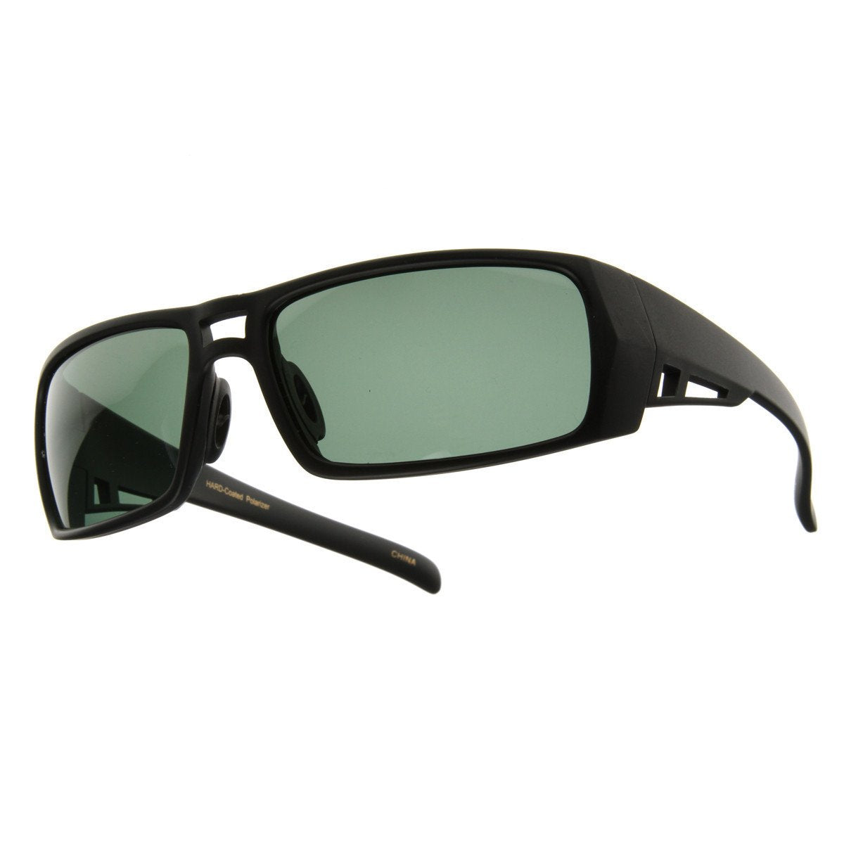 4bffe5a9c1 Premium Action Sports Polarized Mens Wrap Around Aviator Sunglasses 8264 ·  Black