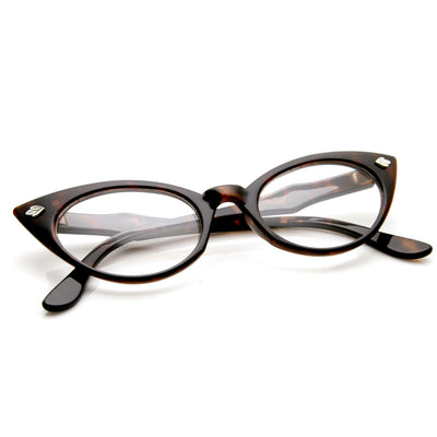 a939353445 Womens 1960 s Leaf Accent Cat Eye Clear Lens Glasses - zeroUV
