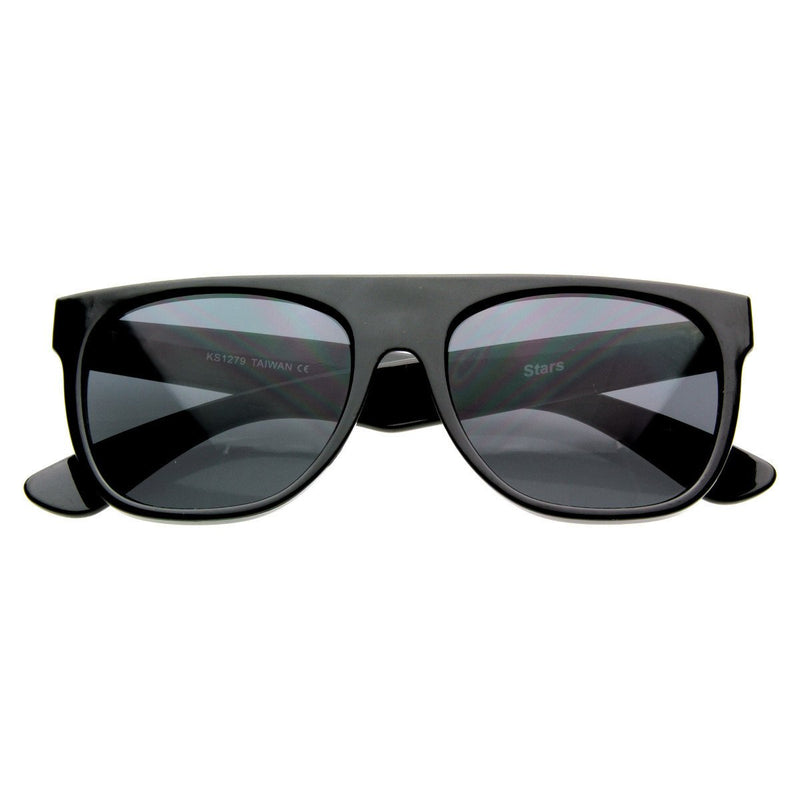 Celebrity Kanye West Super Flat Block Top Retro Horned Rim Sunglasses 8066