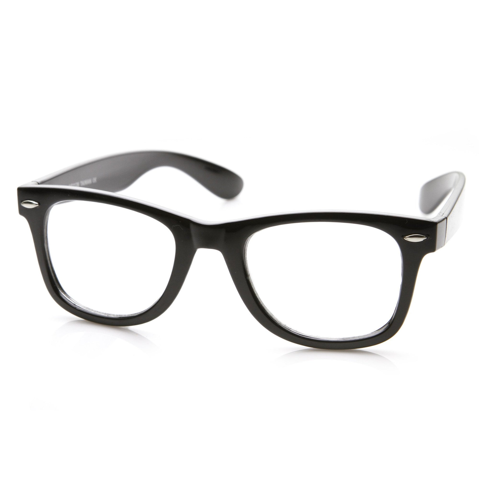 1675cdc96a296 Retro Classic Horned Rim Frame RX Optical Clear Lens Glasses 8708 · Black