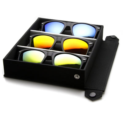 Flat Black Mirror Lens Horned Rim Frame + Travel Case 8025