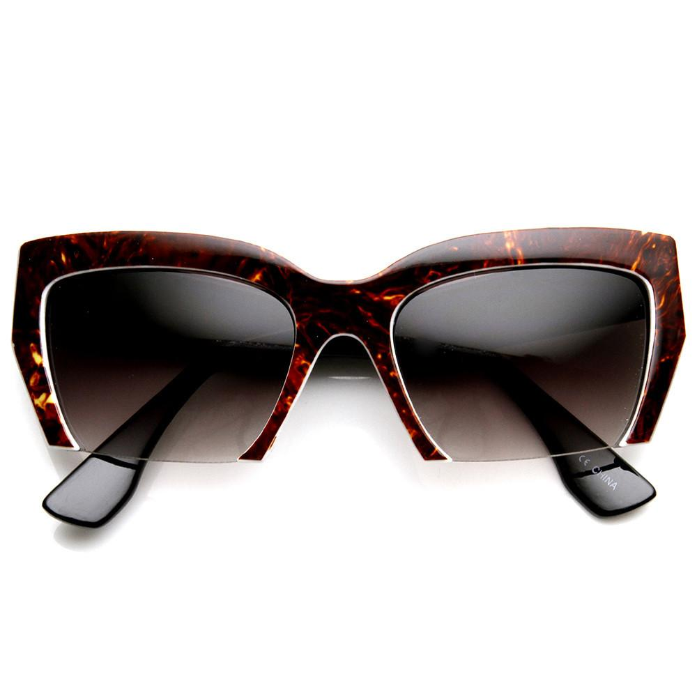 c1b3424a911 Womens Marbleized Fashion Half Cut Cat Eye Sunglasses - zeroUV