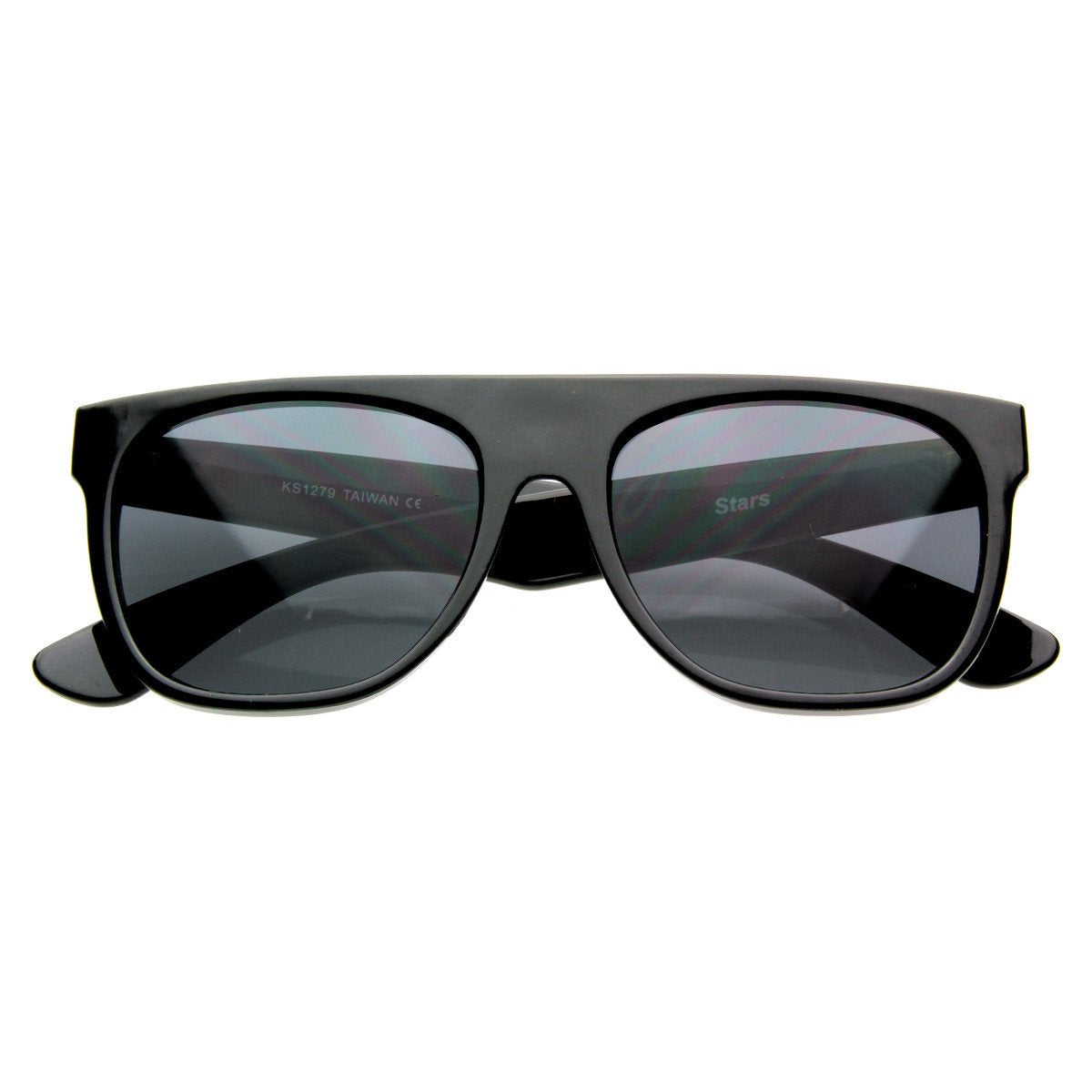 51eb9c93bd44 ... Super Flat Top Retro Horned Rim Sunglasses 8066 · Shiny Black