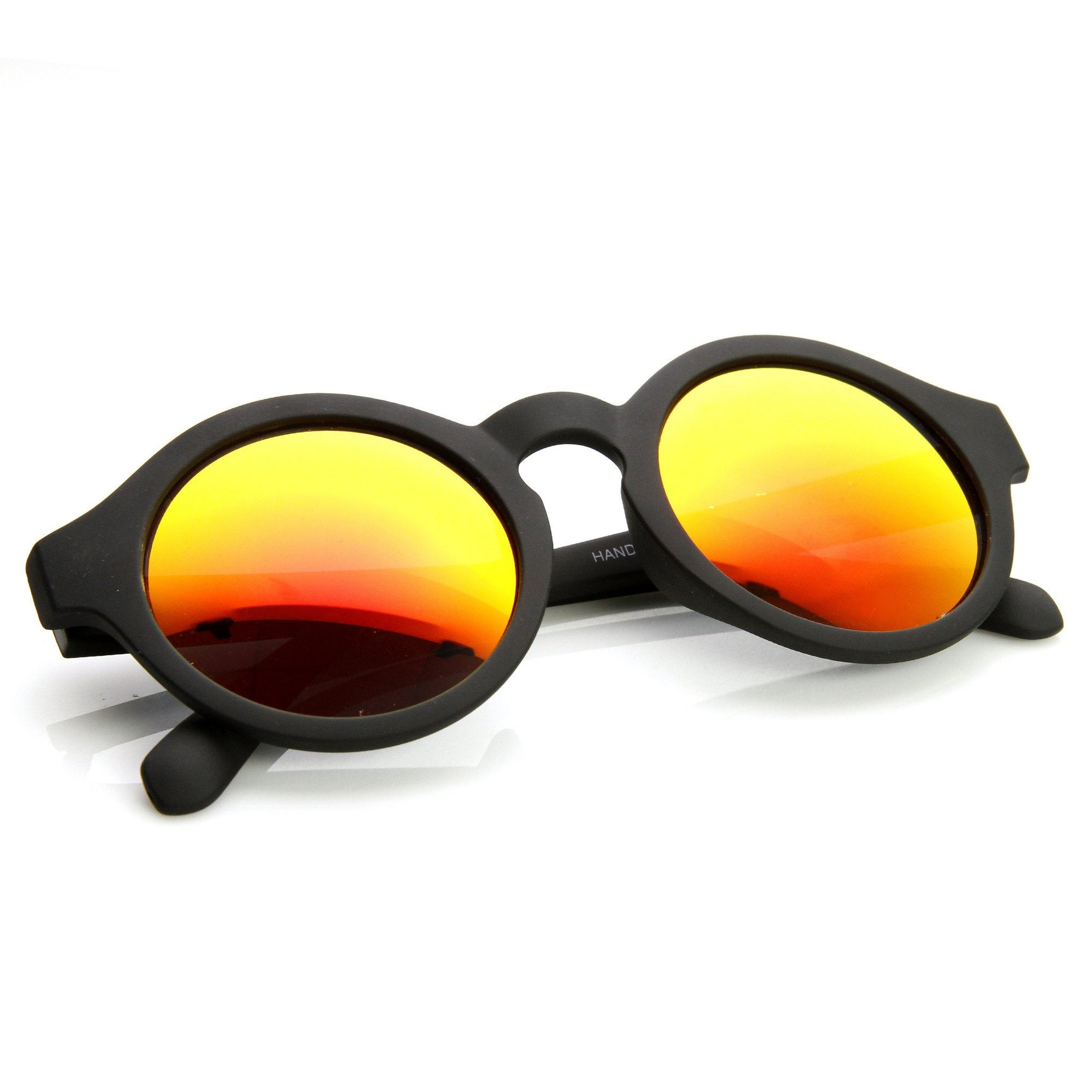 90fb9acbaf773 Retro Flash Mirrored Lens Keyhole Round Sunglasses - zeroUV