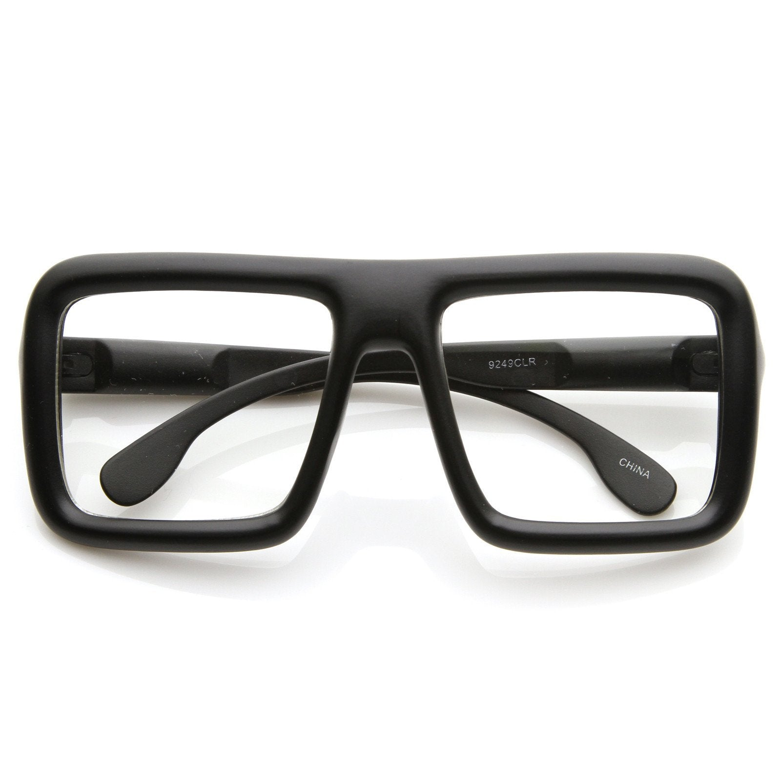 ee5fe78dcfc Oversize Square Block Thick Frame Clear Lens Glasses - zeroUV