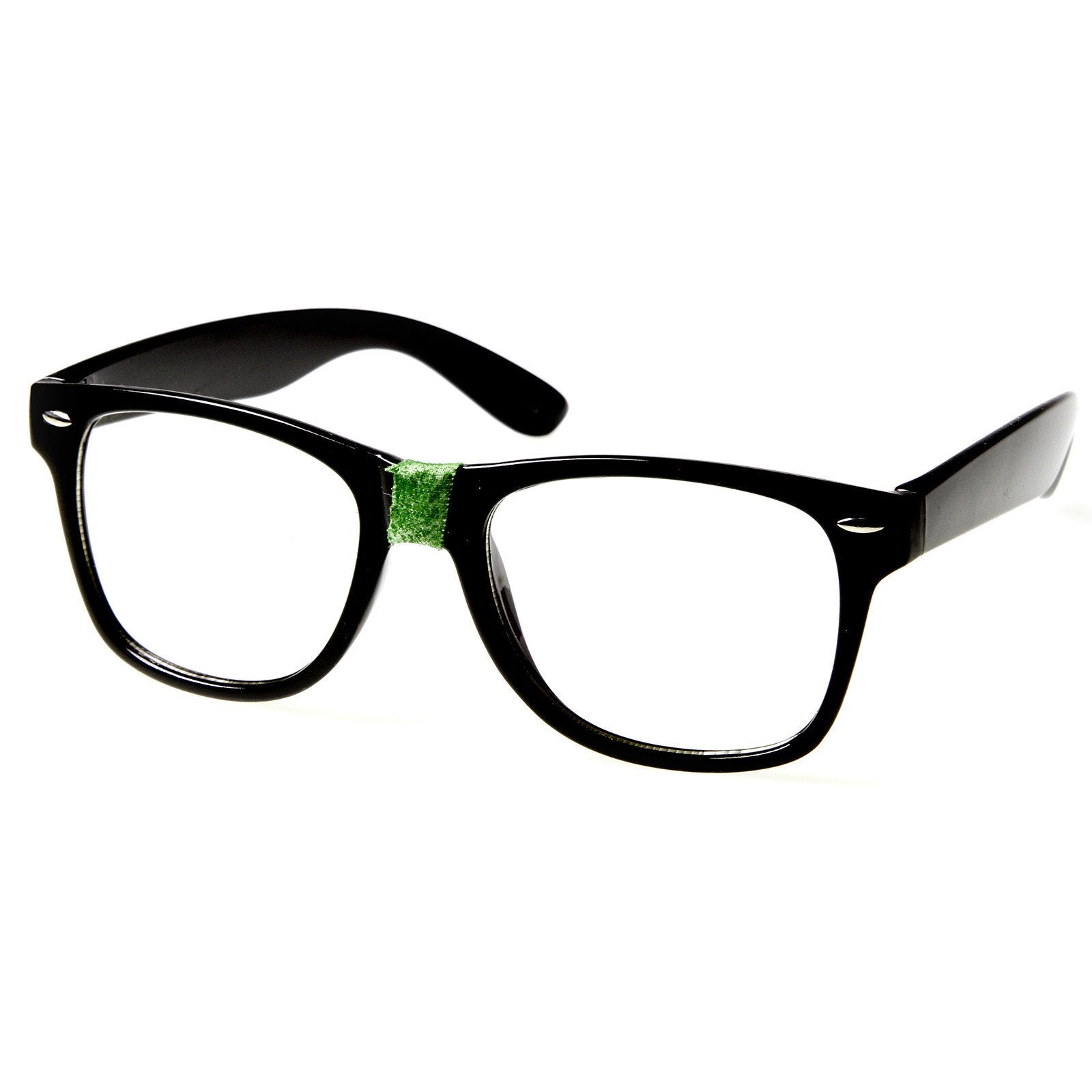 b3fbaa1875 Black Green. Retro Nerd Geek Color Tape Clear Lens Horned Rim Glasses 8624
