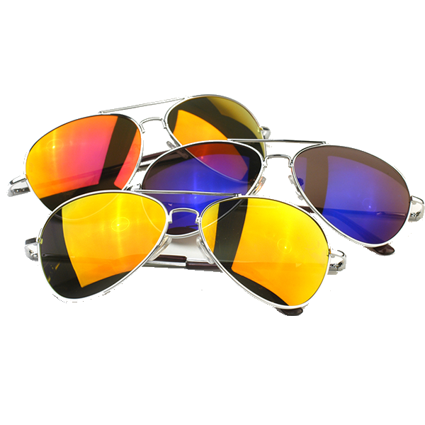 78b53610d46 3 Pack · Ice · Fire · Water. Retro Flash Color Mirrored Lens Metal Aviator  Sunglasses 1485