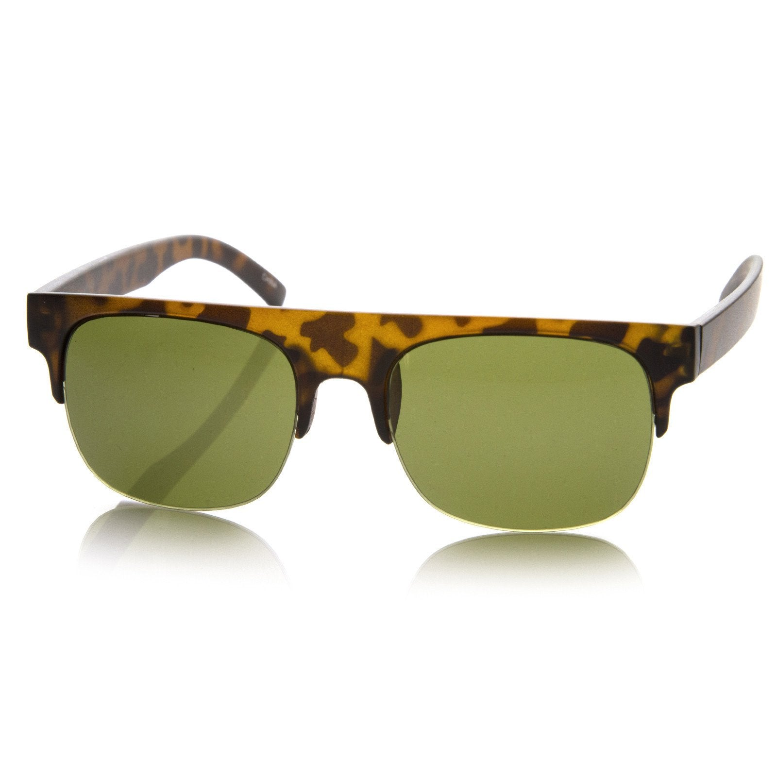 0194e8ed6cb7 Retro Modern Super Flat Top Horned Rim Sunglasses 8694 · Gunmetal ·  Tortoise Green