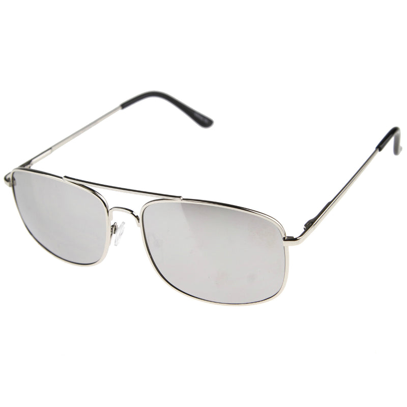 Men's Sports Silver Metal Mirror Lens Aviator Sunglasses A027