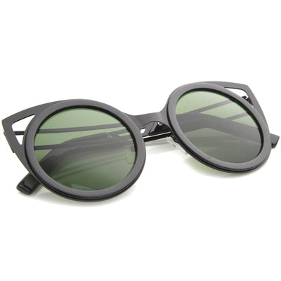 Chic Two-Toned Metal Cutout Round Cat Eye Sunglasses A104