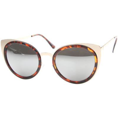 Reinforced Two-Toned Mirrored Lens Cat Eye Sunglasses A106