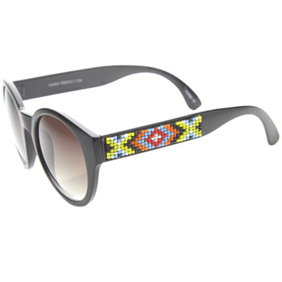 Boho Native Print Bead Arm Accent Round Cat Eye Sunglasses A112