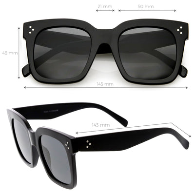 Bold Oversize Square Horned Rim Flat Lens Sunglasses A252