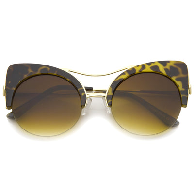 High Pointed Half-frame Flat Lens Round Cat Eye Sunglasses A267