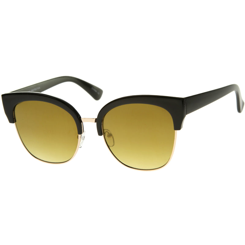 Modern Mirrored Flat Lens Cat Eye Half Frame Sunglasses A325