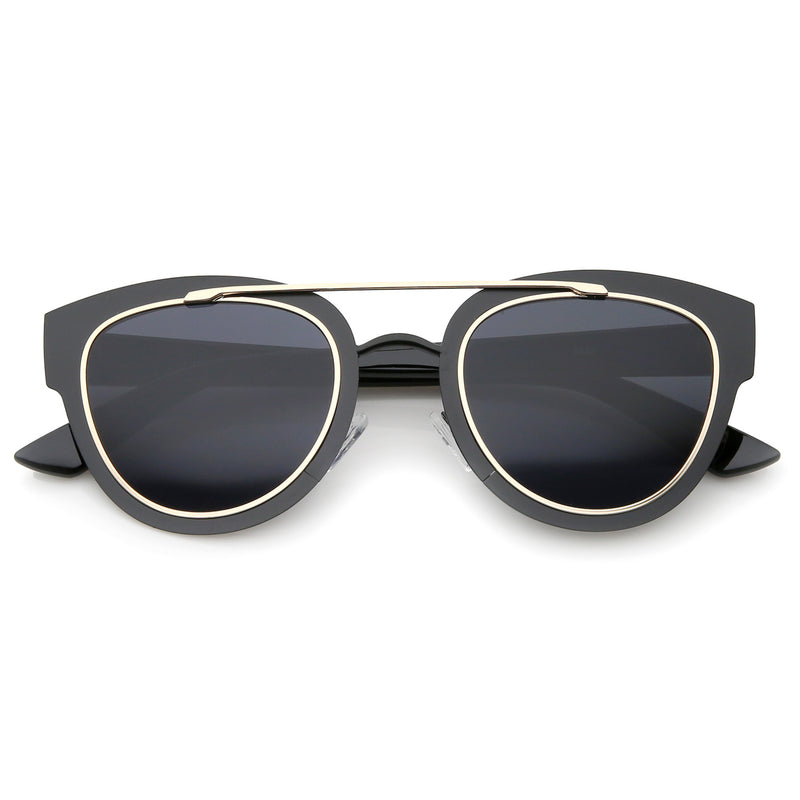 Modern Laser Cut Metal Crossbar Sunglasses A347